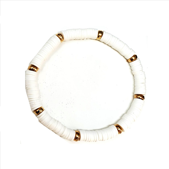 Rubber Disc and Gold Spacer Stretch Bracelet - White
