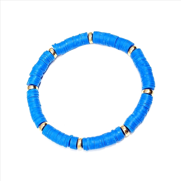 Amazing Rubber Disc and Gold Spacer Stretch Bracelet - Blue