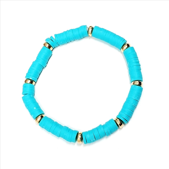Rubber Disc and Gold Spacer Stretch Bracelet - Turquoise