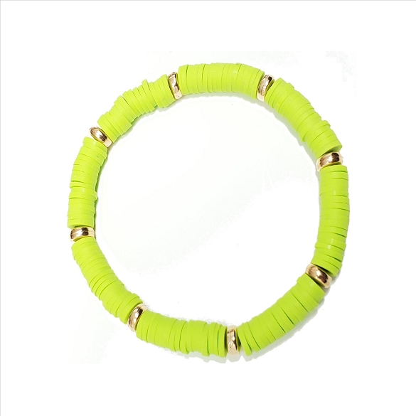 Rubber Disc and Gold Spacer Stretch Bracelet - Lime