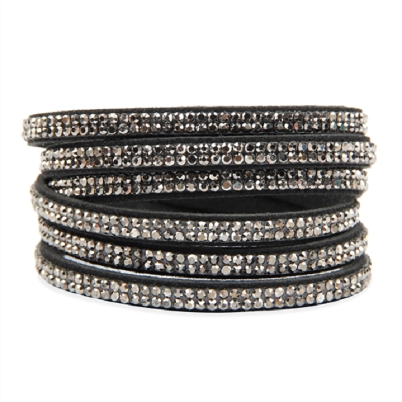 Bling Wrap & Snap Bracelet - Black Hematite