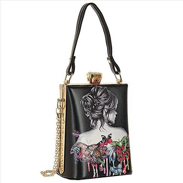 Retro Design Handbag with Shoulder Chain - Butterfly Lady