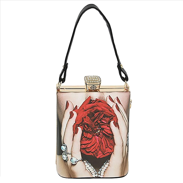 Retro Design Handbag with Shoulder Chain - Rose
