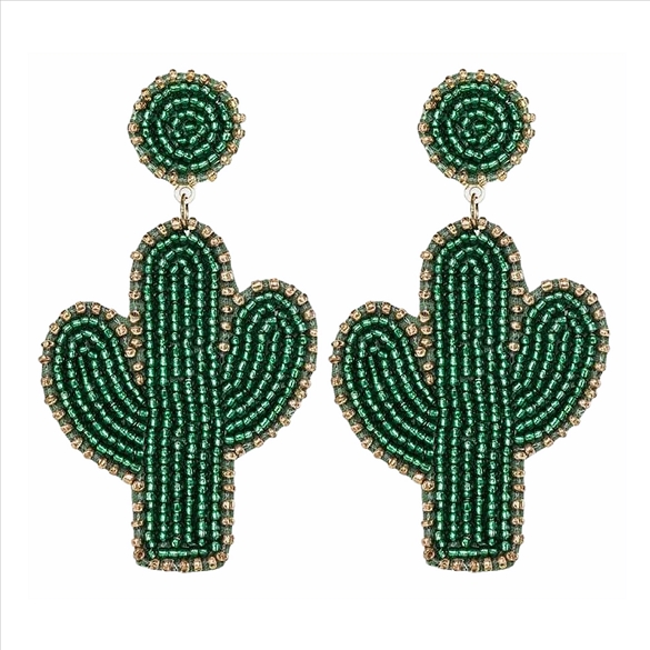 Cactus Glass Bead Post Earrings