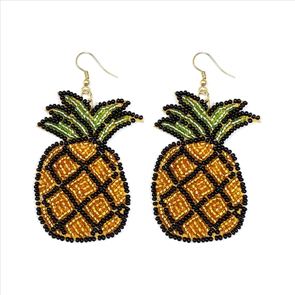 Glass Bead Pineapple Dangle Earrings