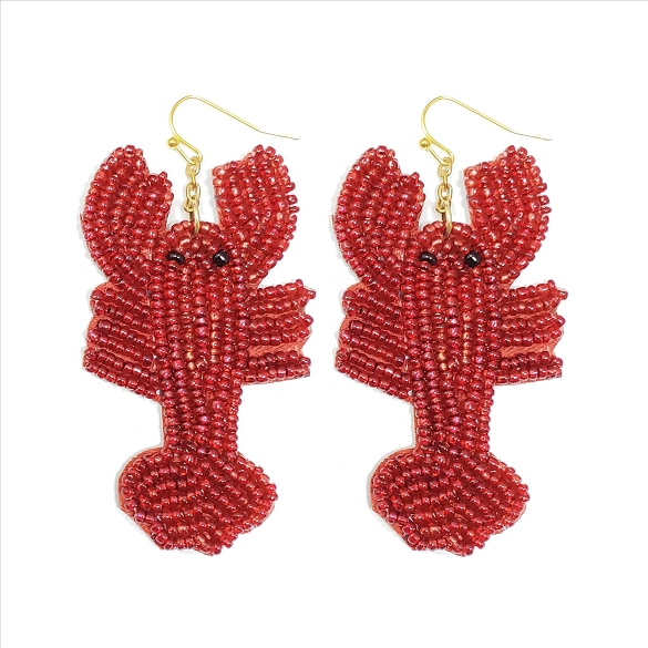 Glass Bead Lobster Dangle Earrings