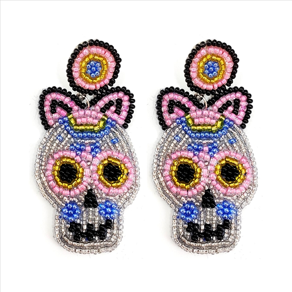 Glass Bead Sugar Skull Post Earrings