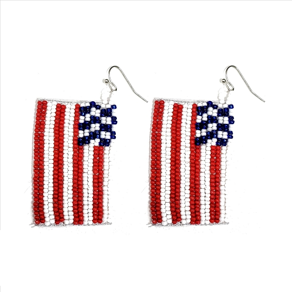 American Flag Glass Bead Dangle Earrings