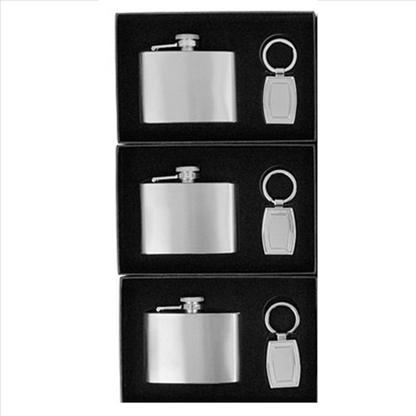 Flask and Key Chain Boxed Set - 3 Pack