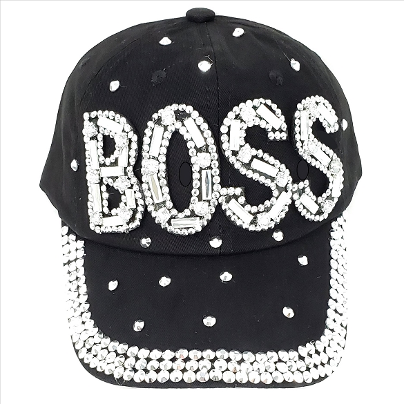 BOSS Rhinestone Hat - Black