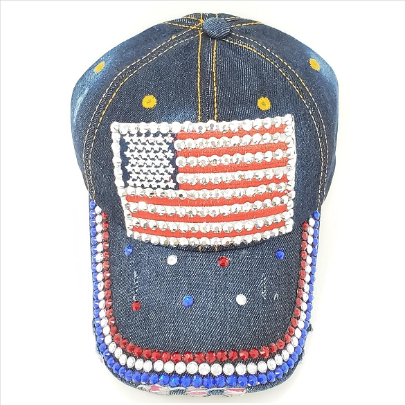 3 Pack Bling American Flag Hat