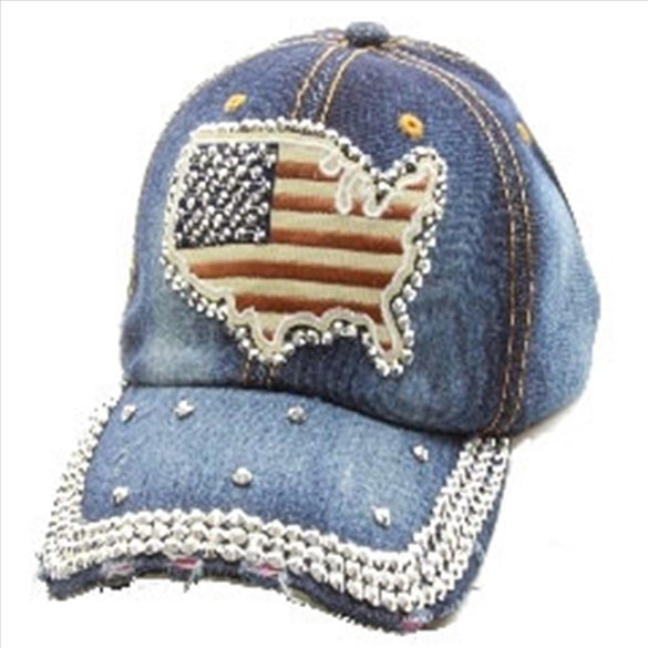 Bling America Map Hat