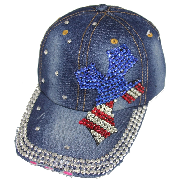 Bling Americana Cross Hat on Denim