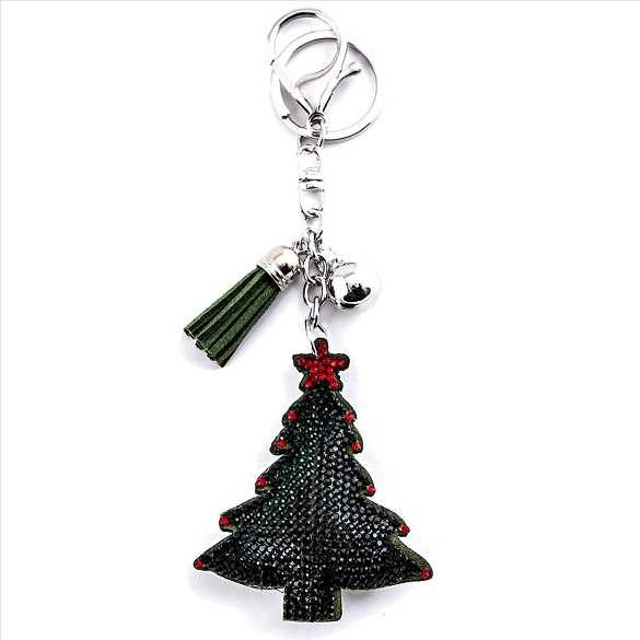 Bling Rhinestone Christmas Tress Puffy Tassel Key Chain