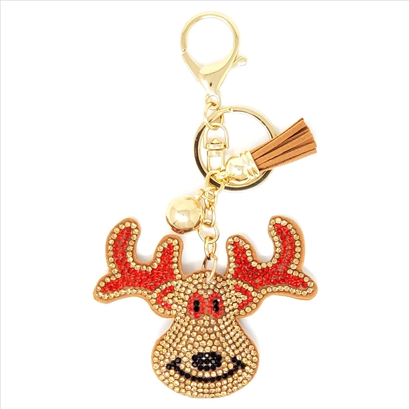 Reindeer Puffy Tassel Key Chain