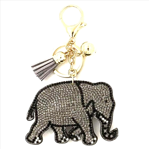 Elephant Rhinestone Puffy Tassel Key Chain Purse Charm Handbag Accessory