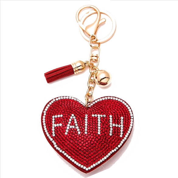 Faith on Red Heart Rhinestone Puffy Tassel Key Chain Purse Charm Handbag Accessory