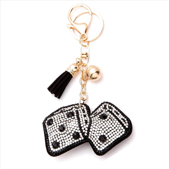 Dice Rhinestone Puffy Tassel Key Chain Purse Charm Handbag Accessory