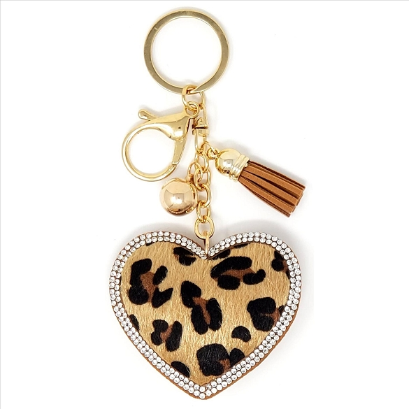 Heart Puffy Tassel Key Chain - Leopard Print