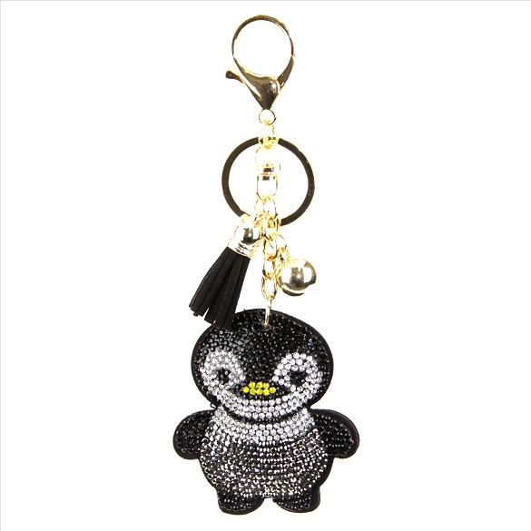 Baby Bird Rhinestone Puffy Tassel Key Chain Purse Charm Handbag Accessory