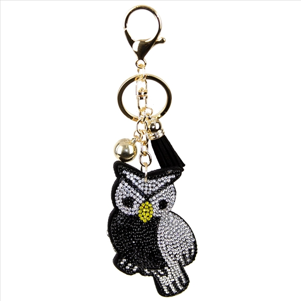 Black Bird Puffy Tassel Key Chain