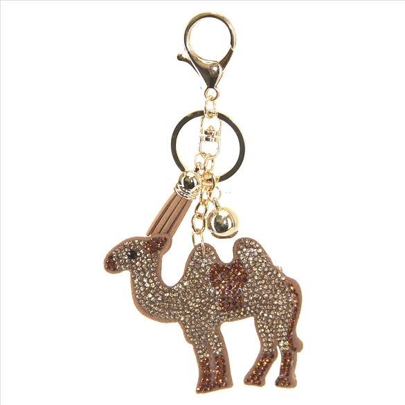 Camel Rhinestone Puffy Tassel Key Chain Purse Charm Handbag Accessory