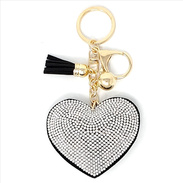 Bling Silver Heart Rhinestone Puffy Tassel Key Chain / Purse Charm