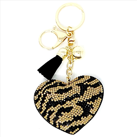 Bling Zebra Print Heart Rhinestone Puffy Key Chain / Purse Charm