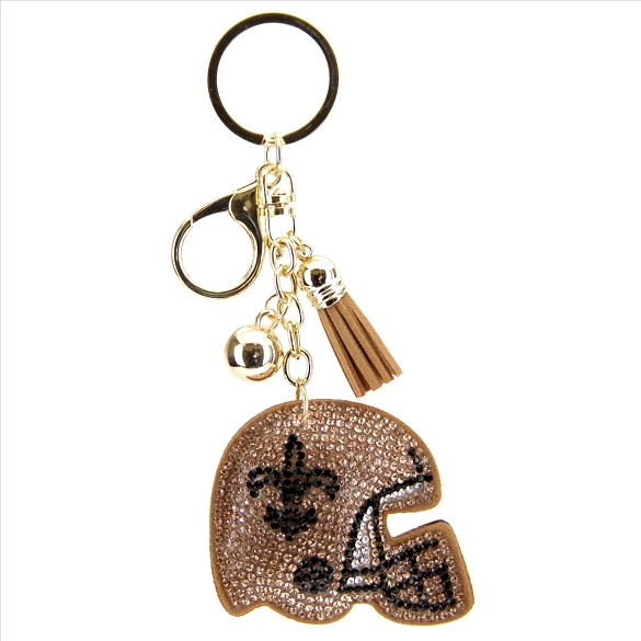 Fleur De Lis Football Helmet Puffy Tassel Key Chain
