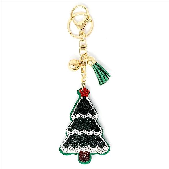 Bling Rhinestone Silver Flocked Christmas Tree Puffy Tassel Key Chain