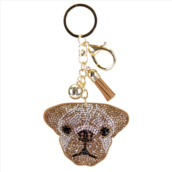 Dog Face Rhinestone Puffy Tassel Key Chain Purse Charm Handbag Accessory