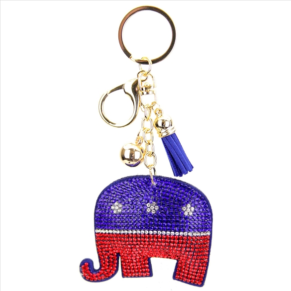 Elephant (Republican) Puffy Tassel Key Chain
