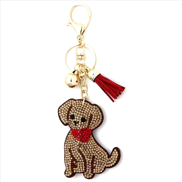 Bling Puppy with Scarf Rhinestone Puffy Key Chain / Purse Charm