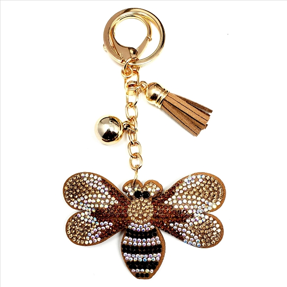 Bling Rhinestone Bumblebee Puffy Tassel Key Chain