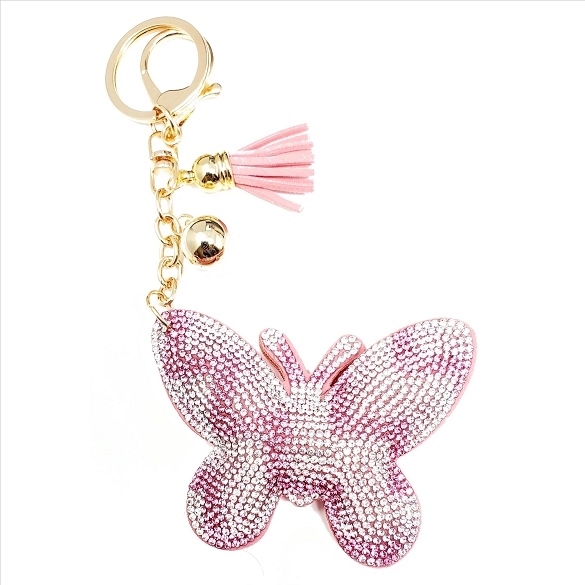 Bling Rhinestone Pink and Silver Butterfly Puffy Tassel Key Chain - 6 Pack
