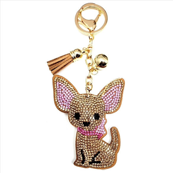 Bling Rhinestone Chihuahua Puffy Tassel Key Chain