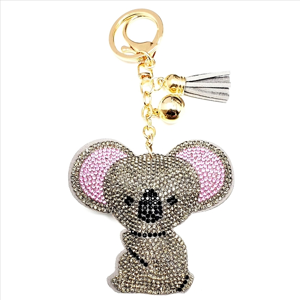 Bling Rhinestone Koala Bear Puffy Tassel Key Chain