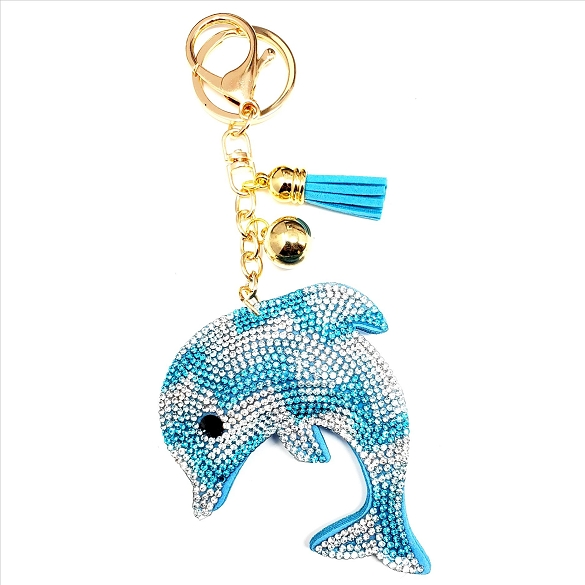 Bling Rhinestone Dolphin Puffy Tassel Key Chain