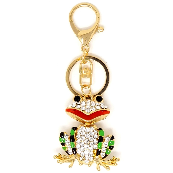 3 Pack Crystal Frog Key Chain / Purse Charm