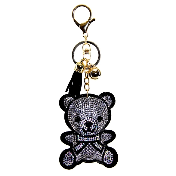 Cute Teddy Bear Rhinestone Puffy Tassel Key Chain Purse Charm Handbag Accessory