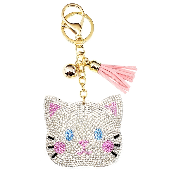 Cute Kitty Puffy Tassel Key Chain