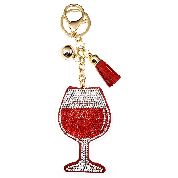 Glass of Wine Puffy Tassel Key Chain