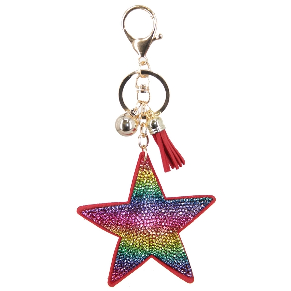 Bling Rainbow Star Rhinestone Puffy Key Chain / Purse Charm