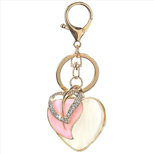 Bling Rhinestone Triple Heart Purse Charm Key Chain - Pink
