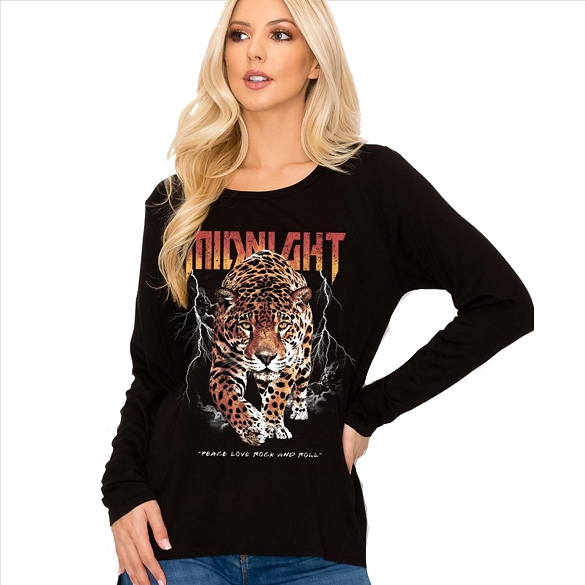 Midnight Leopard Long Sleeve Graphic Top - Black
