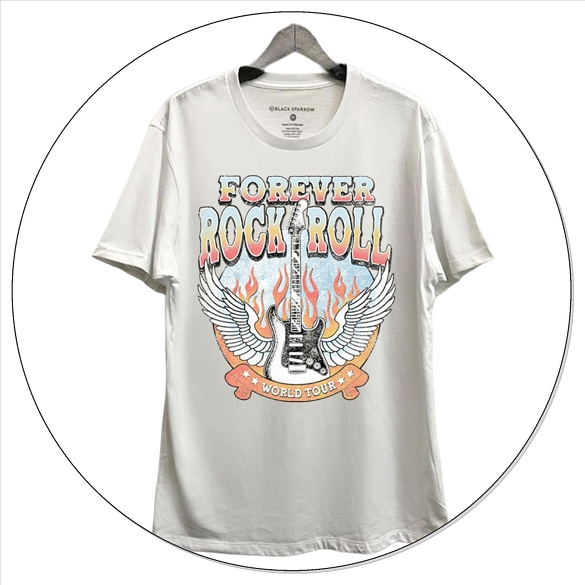 Forever Rock and Roll Short Sleeve Graphic Top - White