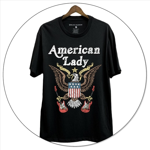 American Lady Short Sleeve Graphic Top - Black