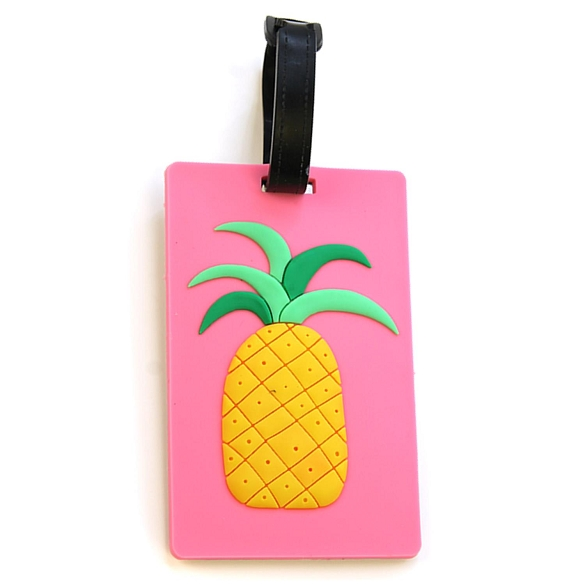 Graphic Pineapple on Pink Luggage Tag