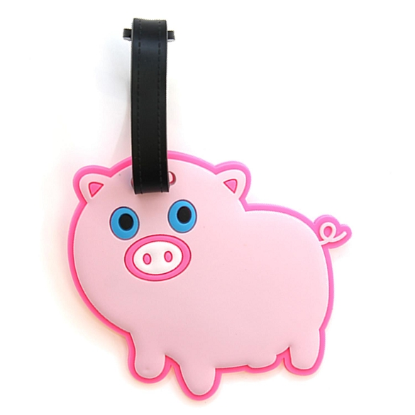 Graphic Pink Pig Luggage Tag