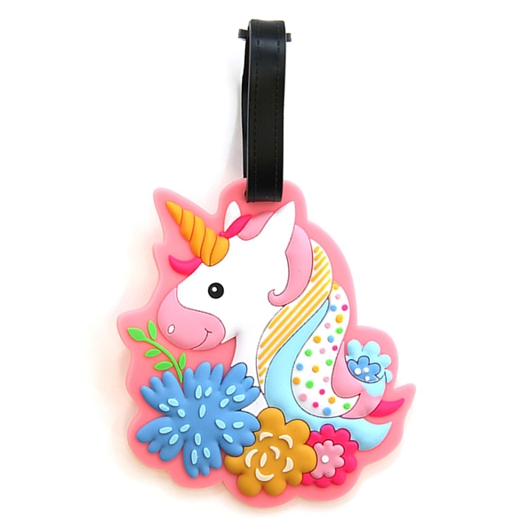 Graphic Unicorn and Flowers Luggage Tag